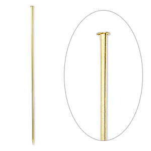 stick pin, gold-finished brass, 3 inches, 18 gauge. sold per pkg of 100.