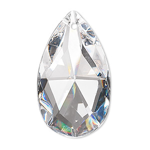 suncatcher, asfour crystal, crystal, clear, 37x21.5mm faceted puffed teardrop. sold per pkg of 4.