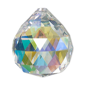 suncatcher, asfour crystal, crystal, clear ab, 35x30mm top-drilled faceted round teardrop. sold per pkg of 5.