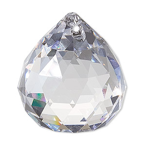suncatcher, asfour crystal, crystal, crystal clear, 35x30mm faceted round teardrop. sold per pkg of 30.