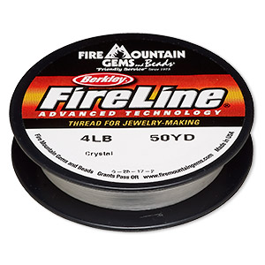 thread, berkley fireline, gel-spun polyethylene, crystal, 0.13mm diameter, 4-pound test. sold per 50-yard spool.