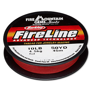 thread, berkley fireline, gel-spun polyethylene, red, 0.2mm diameter, 10-pound test. sold per 50-yard spool.