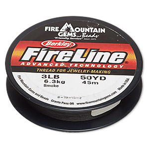 thread, berkley fireline, gel-spun polyethylene, smoke, 0.10mm diameter, 3-pound test. sold per 50-yard spool.