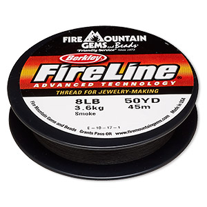 thread, berkley fireline, gel-spun polyethylene, smoke, 0.18mm diameter, 8-pound test. sold per 50-yard spool.