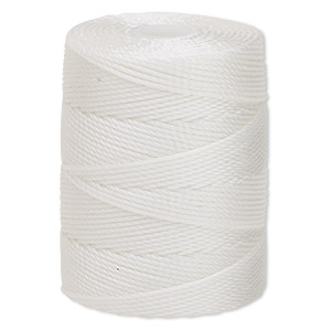 thread, c-lon, nylon, white, 0.5mm diameter. sold per 92-yard spool.