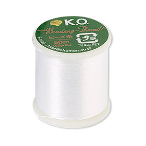 thread, k.o., waxed nylon, white. sold per 55-yard spool.