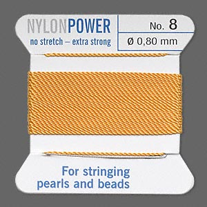 thread, nylon, amber yellow, size #8. sold per 2-yard card.