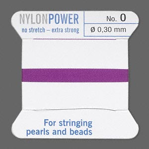 thread, nylon, amethyst purple, size #0. sold per 2-yard card.