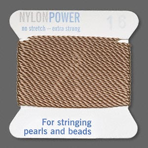 thread, nylon, beige, size #16. sold per 2-yard card.