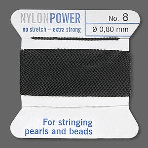 thread, nylon, black, size #8. sold per 2-yard card.