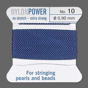 thread, nylon, blue, size #10. sold per 2-yard card.