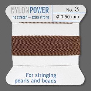 thread, nylon, brown, size #3. sold per 2-yard card.