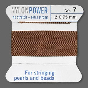 thread, nylon, brown, size #7. sold per 2-yard card.