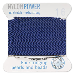 thread, nylon, dark blue, size #16. sold per 2-yard card.