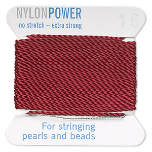 thread, nylon, garnet red, size #16. sold per 2-yard card.