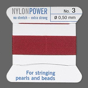 thread, nylon, garnet red, size #3. sold per 2-yard card.