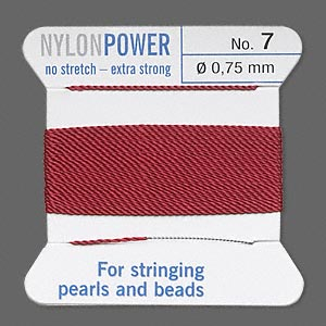 thread, nylon, garnet red, size #7. sold per 2-yard card.