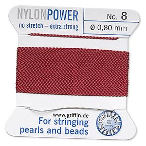 thread, nylon, garnet red, size #8. sold per 2-yard card.