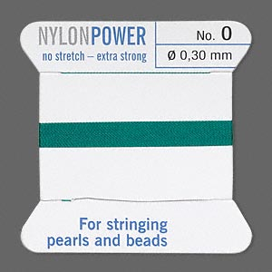 thread, nylon, green, size #0. sold per 2-yard card.