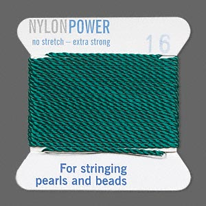 thread, nylon, green, size #16. sold per 2-yard card.