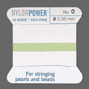 thread, nylon, jade green, size #0. sold per 2-yard card.