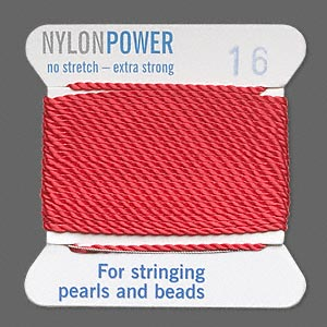 thread, nylon, red, size #16. sold per 2-yard card.