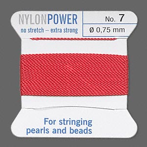 thread, nylon, red, size #7. sold per 2-yard card.