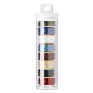 thread, nymo, nylon, assorted colors, size d. sold per pkg of (8) 64-yard bobbins.