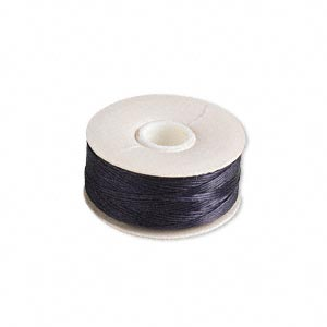 thread, nymo, nylon, black, size b. sold per pkg of (2) 72-yard bobbins.
