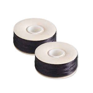 thread, nymo, nylon, black, size oo. sold per pkg of (2) 110-yard bobbins.