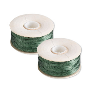 thread, nymo, nylon, green, size d. sold per pkg of (2) 64-yard bobbins.