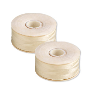 thread, nymo, nylon, light tan, size o. sold per pkg of (2) 90-yard bobbins.