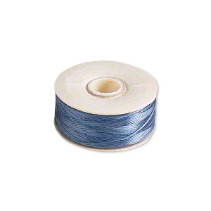 thread, nymo, nylon, royal blue, size b. sold per pkg of (2) 72-yard bobbins.