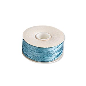 thread, nymo, nylon, turquoise blue, size d. sold per pkg of (2) 64-yard bobbins.
