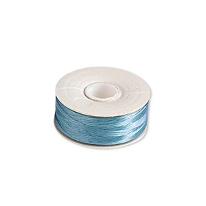 thread, nymo, nylon, turquoise blue, size oo. sold per pkg of (2) 110-yard bobbins.