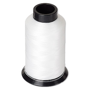 thread, nymo, nylon, white, size d. sold per 3-ounce spool.