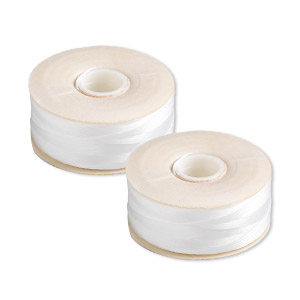 thread, nymo, nylon, white, size d. sold per pkg of (2) 64-yard bobbins.