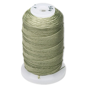 thread, purely silk™, dark green, size f. sold per 140-yard spool.