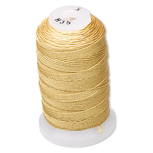 thread, purely silk™, gold, size f. sold per 140-yard spool.
