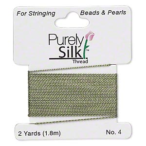 thread, purely silk™, olive green, medium-heavy, size #4. sold per 2-yard card.