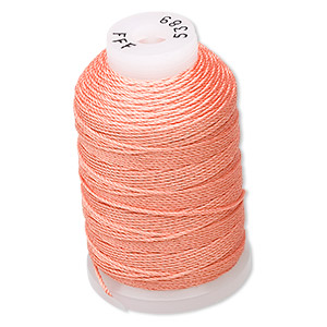 thread, purely silk™, tangerine, size fff. sold per 92-yard spool.