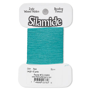 thread, silamide, 2-ply waxed nylon, aqua, size a, 4-pound test. sold per 40-yard card.