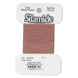 thread, silamide, 2-ply waxed nylon, dusty rose, size a, 4-pound test. sold per 40-yard card.