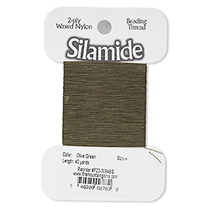 thread, silamide, 2-ply waxed nylon, olive green, size a, 4-pound test. sold per 40-yard card.