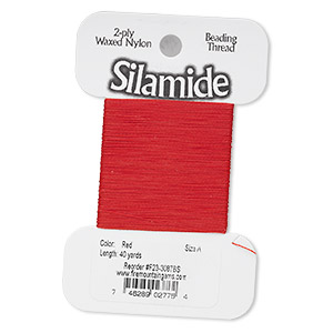 thread, silamide, 2-ply waxed nylon, red, size a, 4-pound test. sold per 40-yard card.