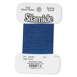 thread, silamide, 2-ply waxed nylon, royal blue, size a, 4-pound test. sold per 40-yard card.