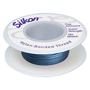 thread, silkon, bonded nylon, heavyweight #3, dark blue. sold per 20-yard spool.