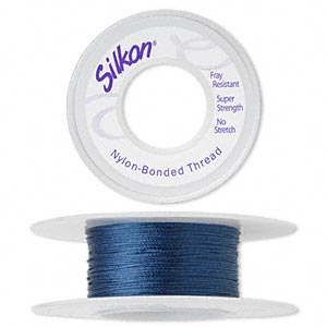thread, silkon, bonded nylon, lightweight #1, dark blue. sold per 20-yard spool.