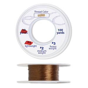 thread, silkon, bonded nylon, lightweight #1, light brown. sold per 20-yard spool.