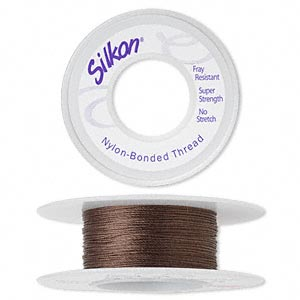 thread, silkon, bonded nylon, medium-weight #2, dark brown. sold per 20-yard spool.